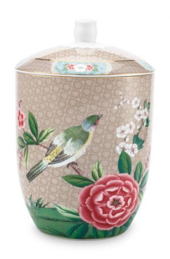 Blushing Birds Storage Jar Khaki