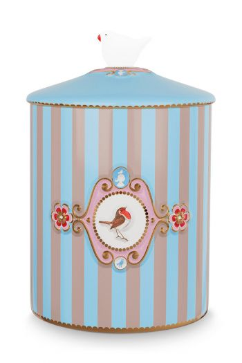 Love Birds Storage Jar Blue/Khaki