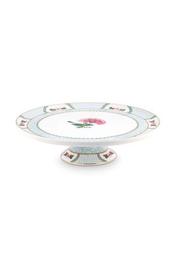 Blushing Birds Round Cake Platter white