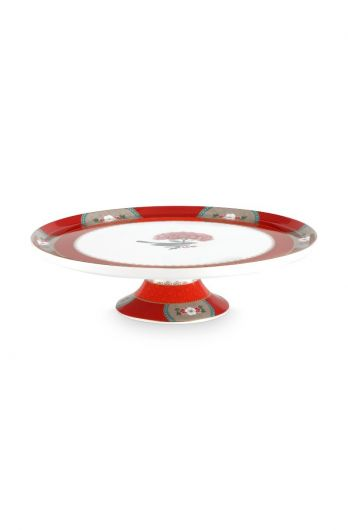 Blushing Birds Round Cake Platter Red