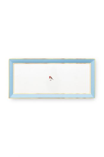 Love Birds Cake Tray Rectangular Blue