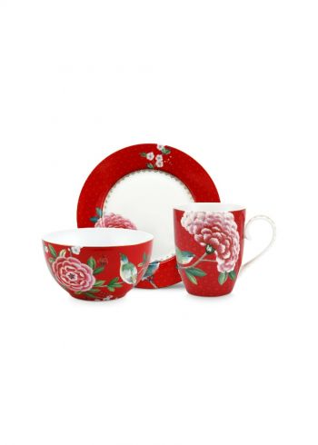 Blushing Birds Breakfast set of 3 Red