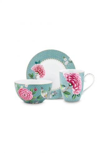 Blushing Birds Breakfast set of 3 Blue