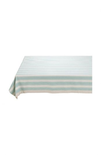 Blushing Birds Table Cloth striped blue and khaki