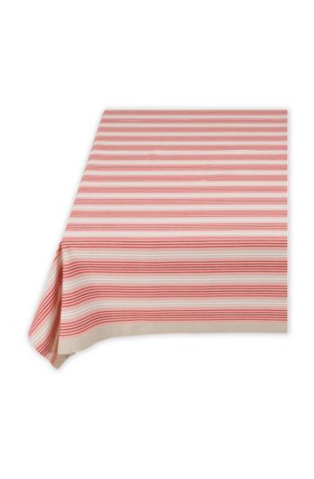 Blushing Birds Table Cloth Striped Red and Khaki