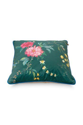 Cushion-floral-green-square-fleur-grandeur-60x60-cm