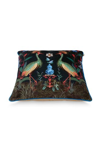 Kussen-botanisch-donker-blauw-vierkant-flirting-birds-60x60-cm