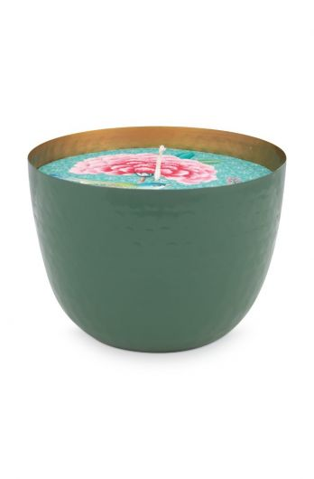 metal-candle-green-blushing-birds-golden-details-pip-studio-13-cm
