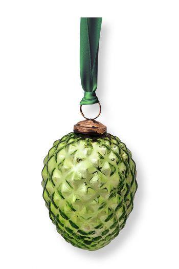 Christmas-ornament-glass-pine-cone-green-pip-studio-10-cm