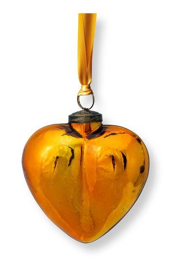 Kerst-ornament-glas-hart-geel-pip-studio-12,5-cm