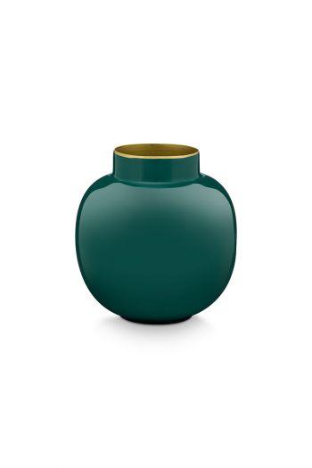 Mini-vaas-donker-groen-rond-metaal-woon-accesoires-pip-studio-10-cm