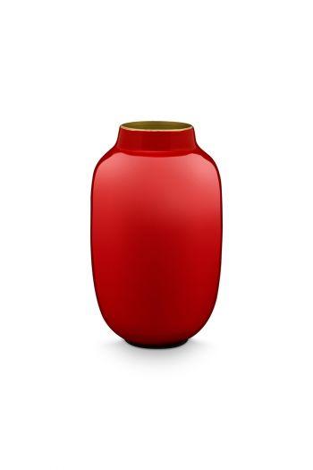 Mini-vaas-rood-ovaal-metaal-woon-accesoires-pip-studio-14-cm