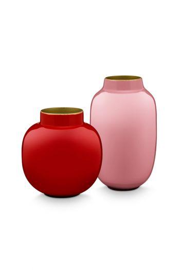 Mini-vazen-set-rood-roze-rond-metaal-woon-accessoires-pip-studio-10-&-14-cm