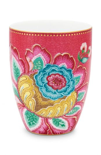 Bathroom-accesoires-drinking-cup-pink-jambo-flower-pip-studio-300-ml