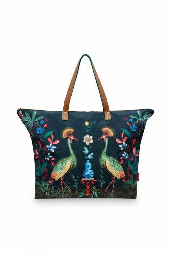 Weekend-tas-donker-blauw-flirting-birds-pip-studio-66x20x44-cm