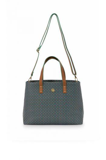 Shopper-klein-donker-blauw-star-tile-pip-studio-33/39x22x10-cm