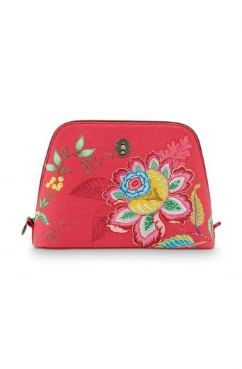 Cosmetic-bag-red-floral-triangle-jambo-flower-pip-studio-24/17x16,5x8-PU