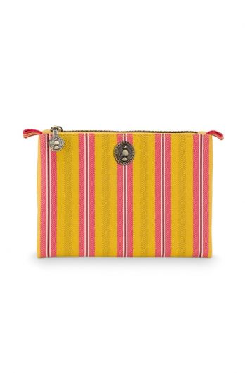 Cosmetic-flat-pouch-small-yellow-floral-jambo-flower-blurred-lines-pip-studio-19.5x13x1cm-PU