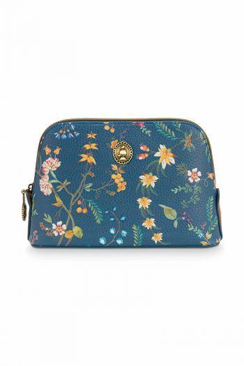 Toilet-tas-bloemen-donker-blauw-driehoekig-klein-petites-fleurs-pip-studio-19/15x12x6-cm