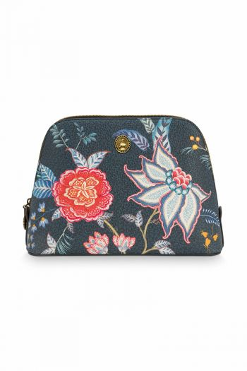Make-up-tas-bloemen-donker-blauw-vierkant-medium-flower-festival-pip-studio-24/17x16,5x8-cm