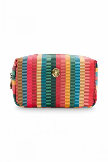 Kosmetic-tasche-quadratisch-gestreift-velvet-multi-colour-klein-jacquard-stripe-pip-studio-20x10x12-cm
