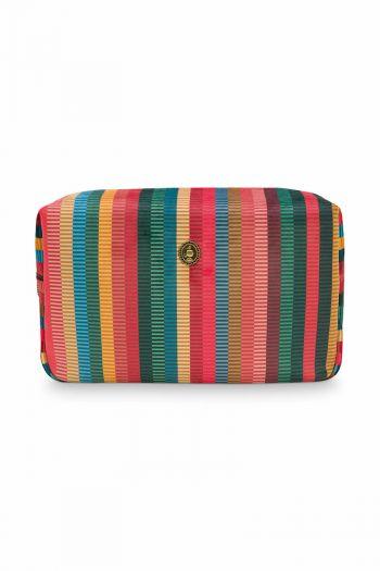 Kosmetic-tasche-quadratisch-gestreift-velvet-multi-colour-gross-jacquard-stripe-pip-studio-28x13x17-cm