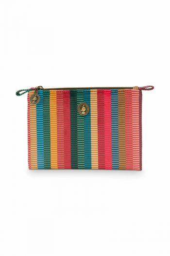 Cosmetic-flat-pouch-striped-velvet-multi-colour-jacquard-stripe-pip-studio-19,5x13x1-cm
