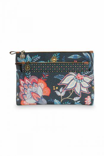 Cosmetic-bag-floral-dark-blueflower-festival-pip-studio-26x18x7,5-/-22x13x1-cm
