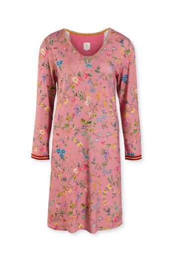 Night-dress-long-sleeve-floral-print-pink-petites-fleurs-pip-studio-xs-s-m-l-xl-xxl