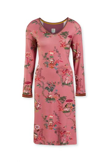 Night-dress-long-sleeve-botanical-print-pink-chinese-porcelain-pip-studio-xs-s-m-l-xl-xxl