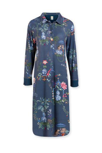Night-dress-long-sleeve-botanical-print-blue-chinese-porcelain-pip-studio-xs-s-m-l-xl-xxl