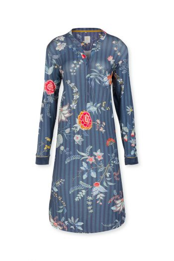 Night-dress-long-sleeves-floral-print-dark-blue-flower-festival-pip-studio-xs-s-m-l-xl-xxl