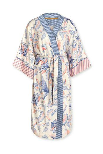 Kimono Royal Birds Off Weiß Plus Size