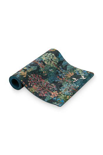 Yoga-mat-botanical-print-dark-blue-pip-garden-pip-studio-66x183-cm