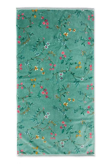 Handtuch-XL-blumen-drucken-grün-70x140-les-fleurs-baumwolle