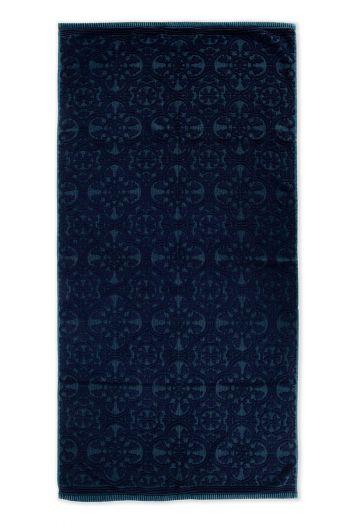 Handtuch-XL-barock-drucken-dunkel-blau-70x140-tile-de-pip-baumwolle