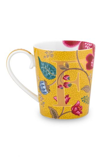 Letter-mug-yellow-blushing-birds-F-pip-studio