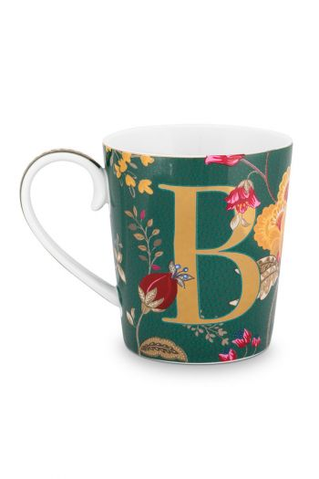 Letter-mug-green-floral-fantasy-B-pip-studio