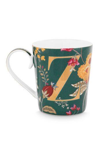 Letter-mug-green-floral-fantasy-Z-pip-studio