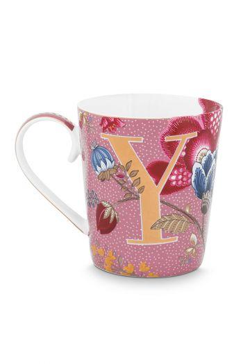 Letter-mug-pink-floral-fantasy-Y-pip-studio