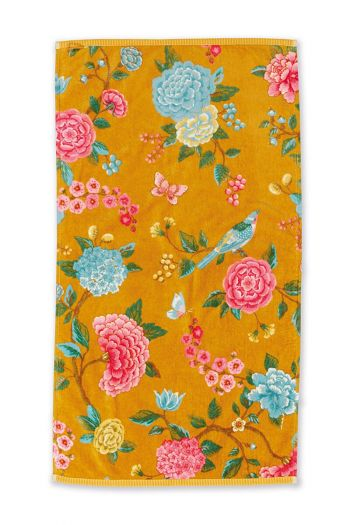 Bath-towel-floral-yellow-55x100-good-evening-pip-studio-cotton-terry-velour