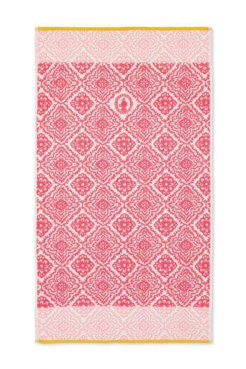 Douchelaken-handdoek-dark-pink-55x100-jacquard-check-pip-studio-katoen-terry-velour