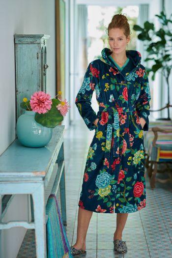 Bathrobe-dark-blue-floral-good-evening-pip-studio-cotton-terry-velour