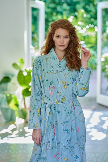 Bathrobe-blue-floral-les-fleurs-pip-studio-cotton-terry-velour