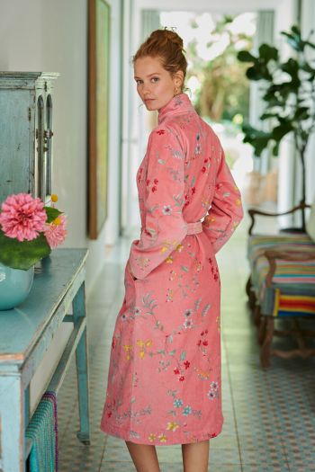 Bathrobe-pink-floral-les-fleurs-pip-studio-cotton-terry-velour