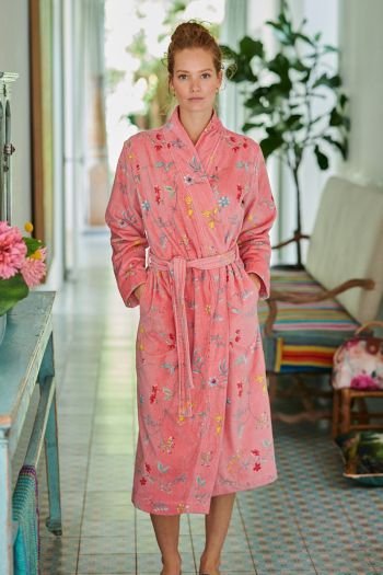 Bathrobe-pink-floral-les-fleurs-pip-studio-cotton-terry-velour