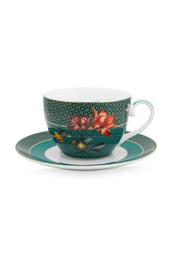 cappuccino-kop-en-schotel-winter-wonderland-van-porselein-met- bloemen-in-groen