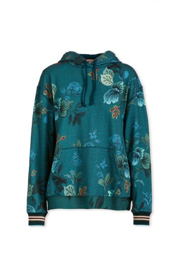 Pullover mit Kapuze Leafy Stitch Blau