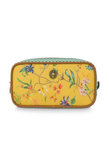 Kosmetic-tasche-blumen-gelb-quadratische-klein-petites-fleurs-pip-studio-20x10,5x7,5-cm