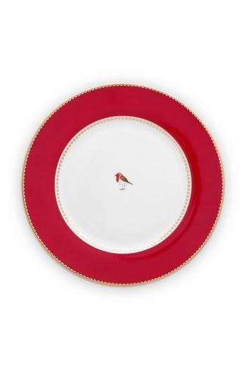 diner-bord-26,5-cm-rood-gouden-details-love-birds-pip-studio